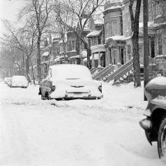 chicago snowy street and row houses c 1960 chuckman's